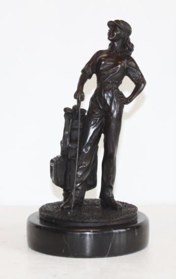 Dapper Bronze Sculpture Lady Golfer