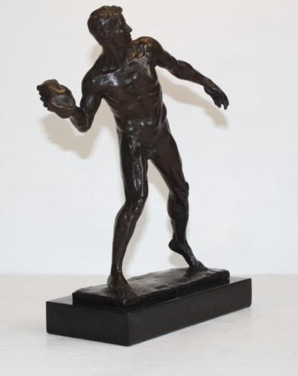 Tenacious Male Nude Athlete with Shotput Bronze Sculpt - 2