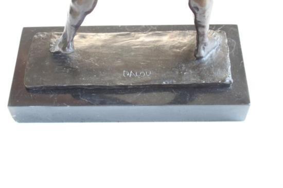 Tenacious Male Nude Athlete with Shotput Bronze Sculpt - 6