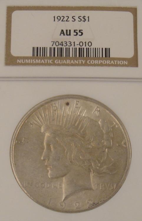 1922-S Silver Peace Dollar Certified AU 55