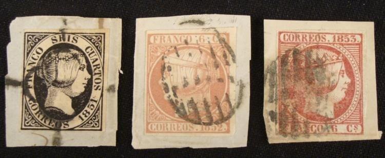 3 Franco Correos Stamps 1851-1853 Spain