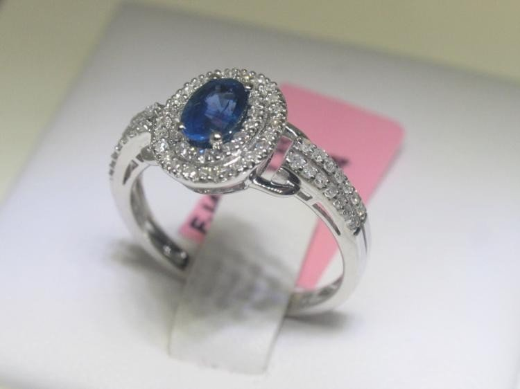 .35 CT Diamonds and Blue Sapphire 14K White Gold Ring