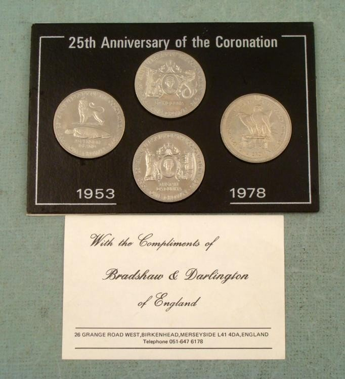 4 UK 25th Inaugural Anniversary Coins 1978