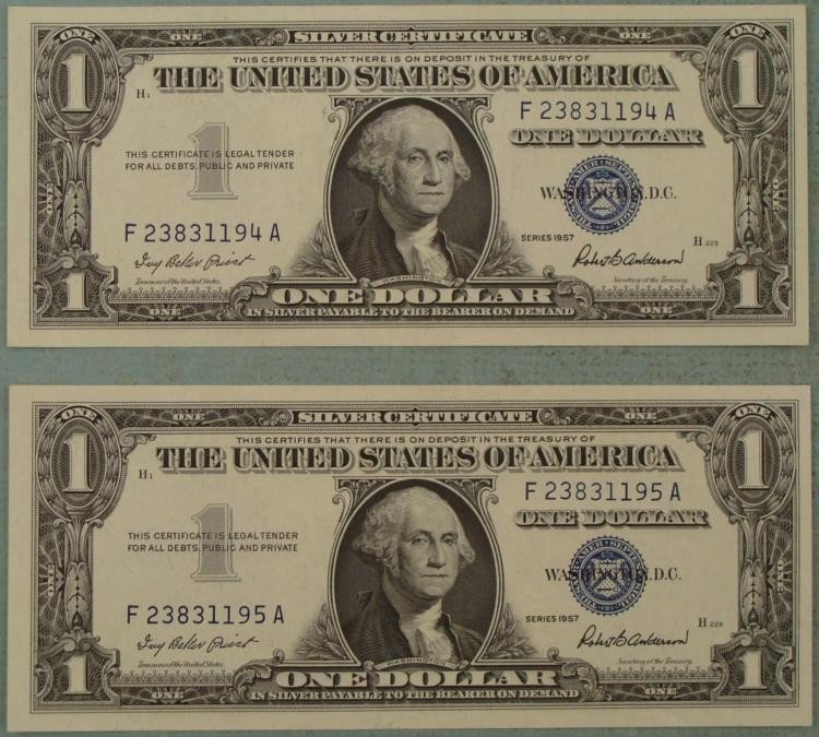 2 Crisp UNC Consec Numbered 1957 Silver Certificates