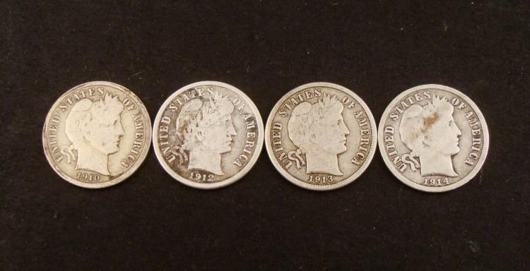 4 Different Date Hi-Grade Barber Silver Dimes