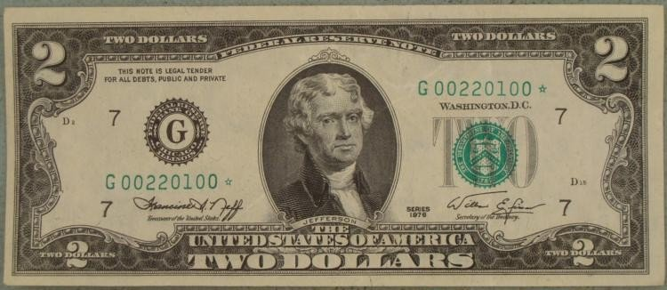 Rare Star Note $2 Dollar Bill # 00,1976 G Mint Chicago