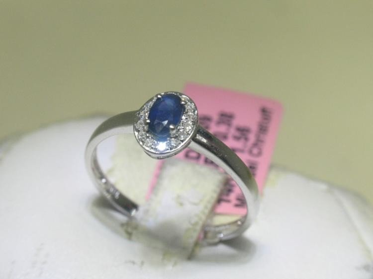 .07 ct Diamonds and Blue Sapphire 14K White Gold Ring