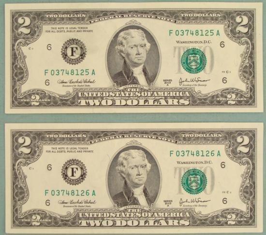 2 Consec # 2003 A $2 Bills F Mint Atlanta Notes CU