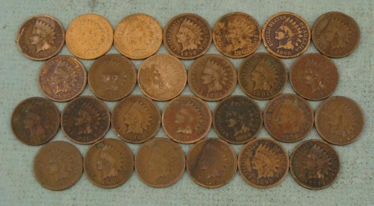 26 Diff Date Indian Cents Pennies 1880-1908