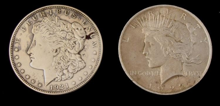 1921-D Morgan & 1922 Peace Dollars (2)