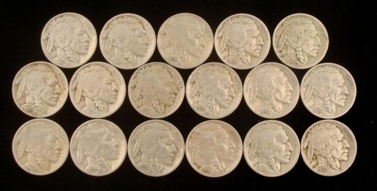 17 Dif Date Buffalo Nickels Strong, 1/2 & Full Horns