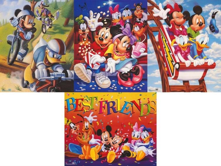 4 Disney Prints Mickey & Friends Bikes, Rollercoaster