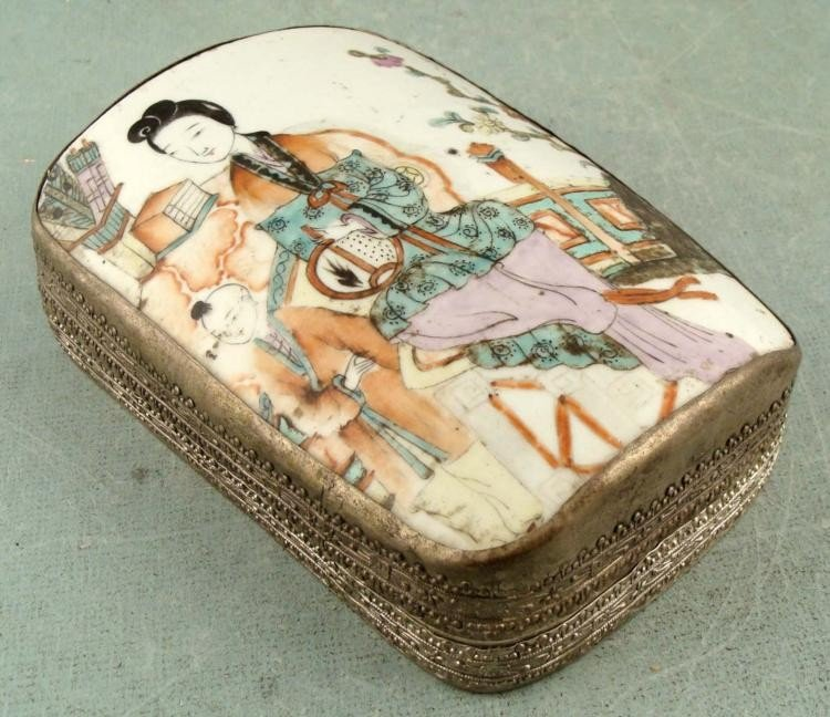 Vintage Chinese Painted Enamel Metal Box
