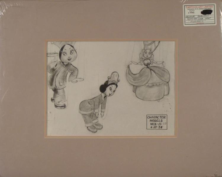 Pinocchio Disney Orig Production Photostat Model Drawn