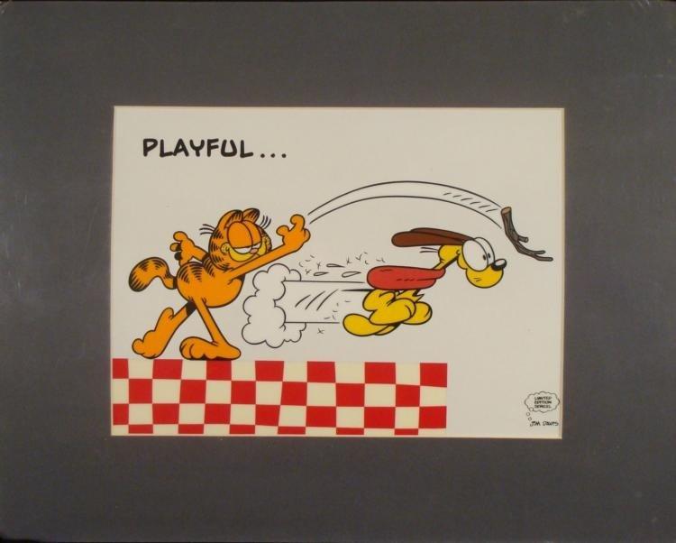 Garfield & Odie Ltd Ed Animation Serigraph Cel -Playful