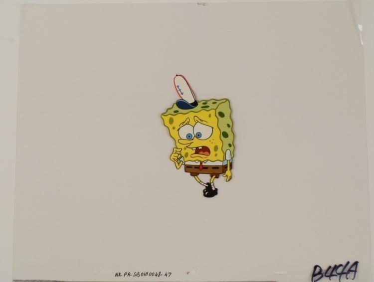 Concerned SpongeBob Walking Original Cel Production Art