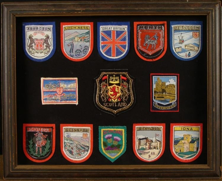 13 FRAMED BRITISH COMMONWEALTH PATCHES GOLD & SILVER