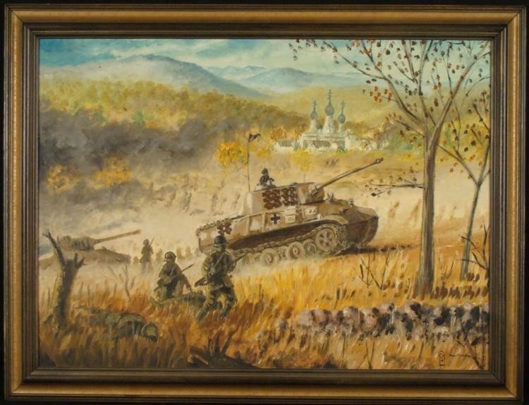 VINTAGE OIL PAINTING OF WWII RUSSIA W/ NAZI PANZER TANK