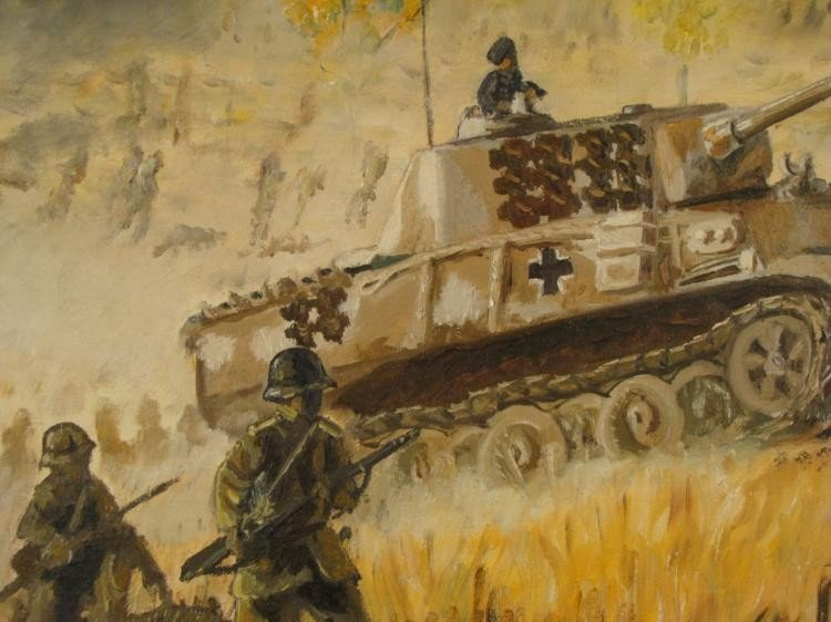 VINTAGE OIL PAINTING OF WWII RUSSIA W/ NAZI PANZER TANK - 2