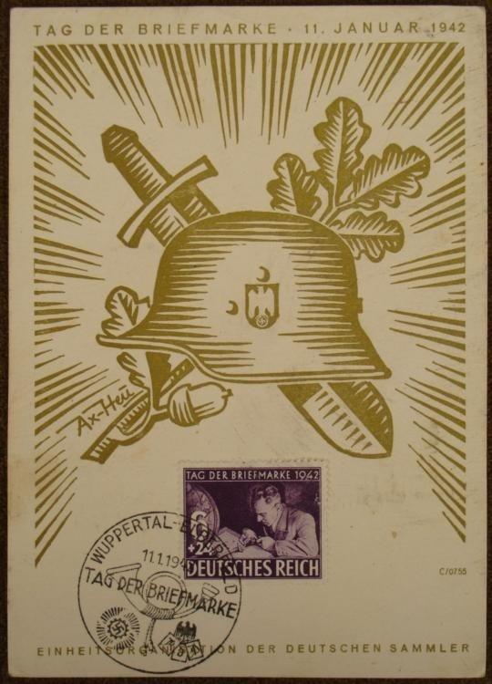 ORIGINAL NAZI 1942 POSTCARD-STAMPED & POSTMARKED-HELMET