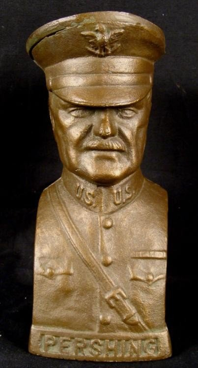 """WWI GENERAL PERSHING CAST IRON STILL BANK 7 3/4"""" C1918"""