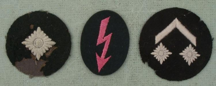 3 NAZI ORIGINAL LUFTWAFFE RANK PATCHES-1 MARKED ON REAR