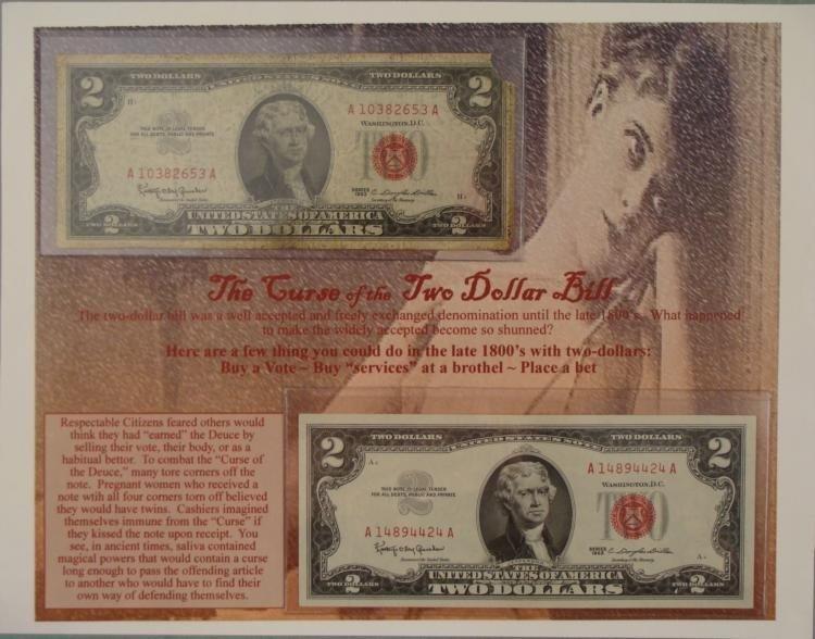 Curse of the $2 Bill Set on Sheet 2 1963 Notes 1 Gem CU