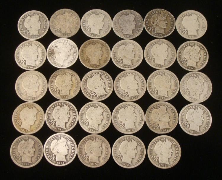 30 Different Barber Dimes 1898-1916-S -Clear Dates