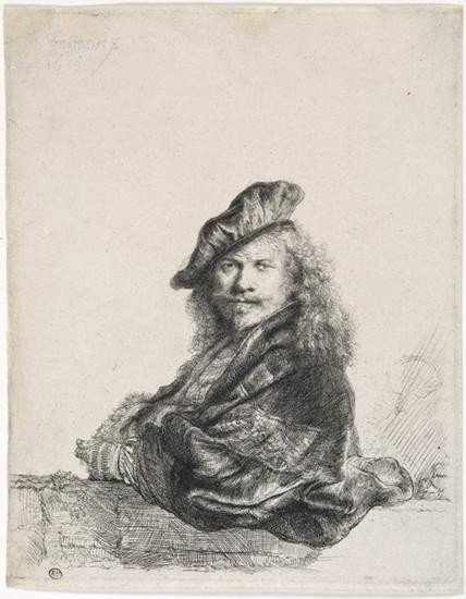 SELF-PORTRAIT LEANING ON A STONE SILL Rembrandt