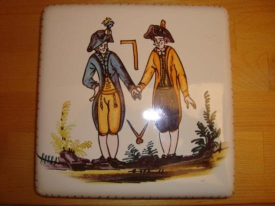 French masonic table mat earthenware w painted symbols
