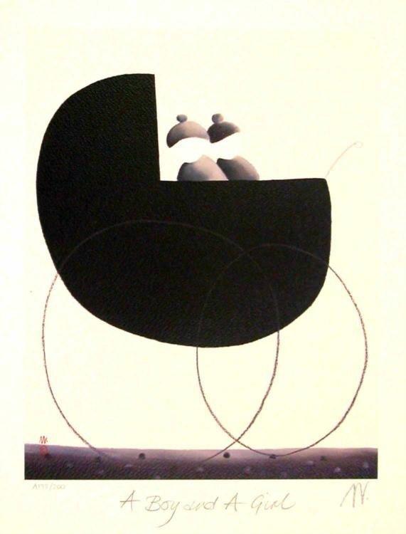 Mackenzie Thorpe 'A BOY AND A GIRL' Lithograph