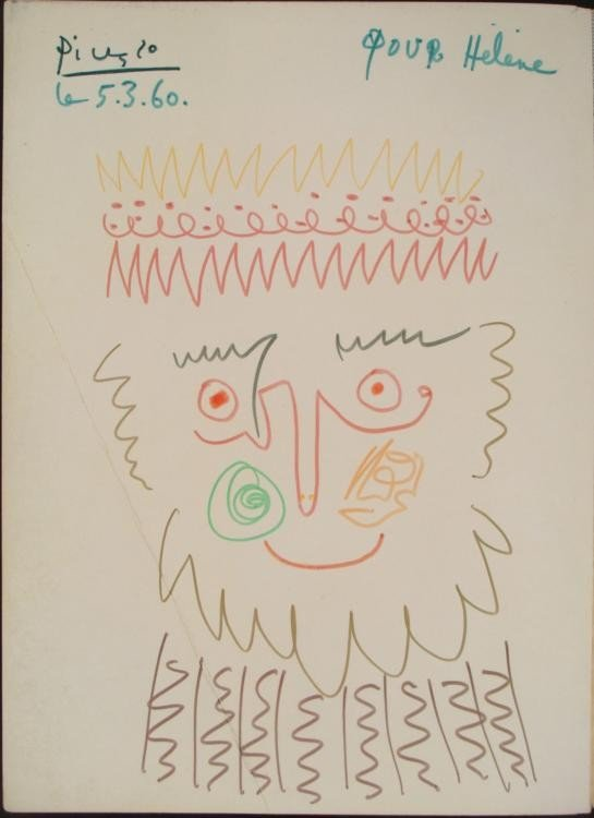 Pablo Picasso Original Drawing Signed In Book 1960