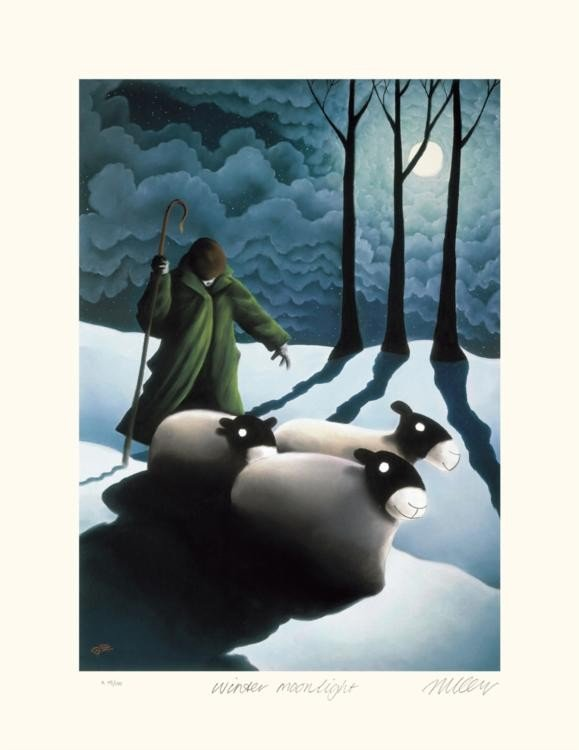 Mackenzie Thorpe 'WINTER MOONLIGHT' Lithograph