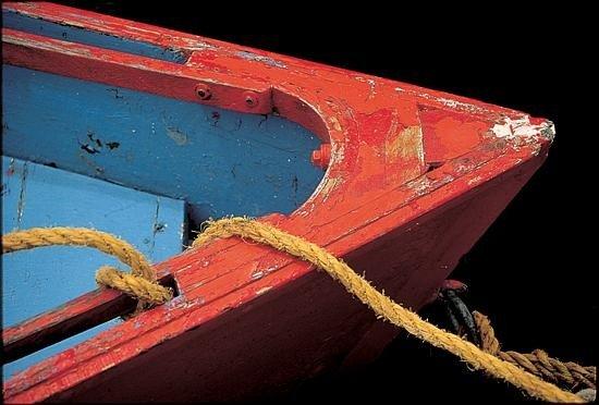 Primarily Red John Peer Art Print Dilapidated Boat