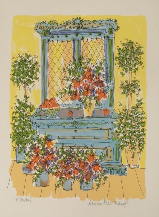 Susan Pear Meisel Signed Print Flower Garden Art
