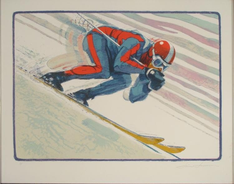 Jim Jensen Signed Art Print -Skier Skiing