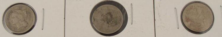 (2) 3 Cent Nickels 1865 & Barber Dime 1914