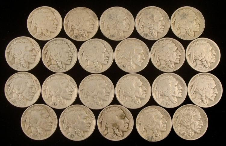 22 Dff Date Buffalo Nickels 1919-1937-P,D,S Nice Coins