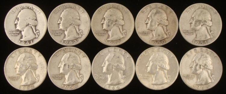 10 (9 Diff) Date Washington Quarters 1941-S - 1964