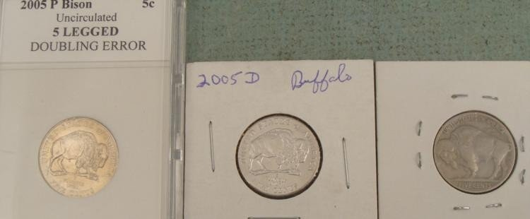 2005P Bison UNC Doubling Error +2 Nickels 1938, 2005D
