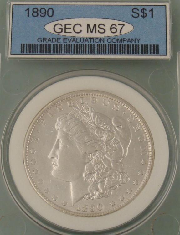 1890 Morgan Silver Dollar Certified MS 67
