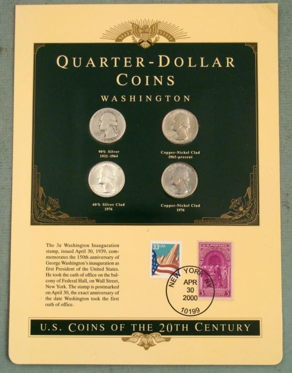 US Quarter Sealed Coins of the 20th Century with Stamps