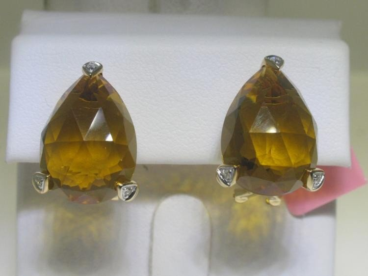 Citrine and .04 ct Diamonds 14K Yellow Gold Earrings