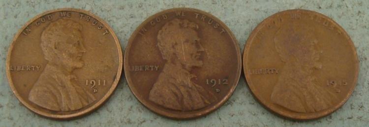 3 Very High Grade Key Date Lincoln Cents 1911D, 12D 13D