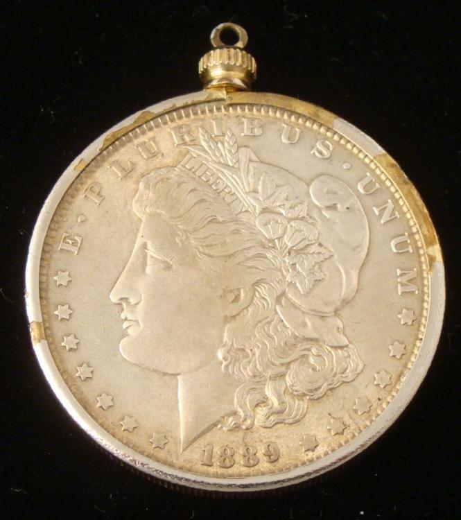 1889 Silver Morgan Dollar in Silver Gold Bezel