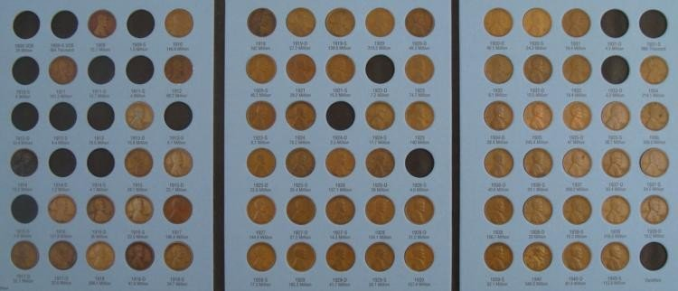 1909-40 Lincoln Wheat Cent Collection 70 Coins in Book