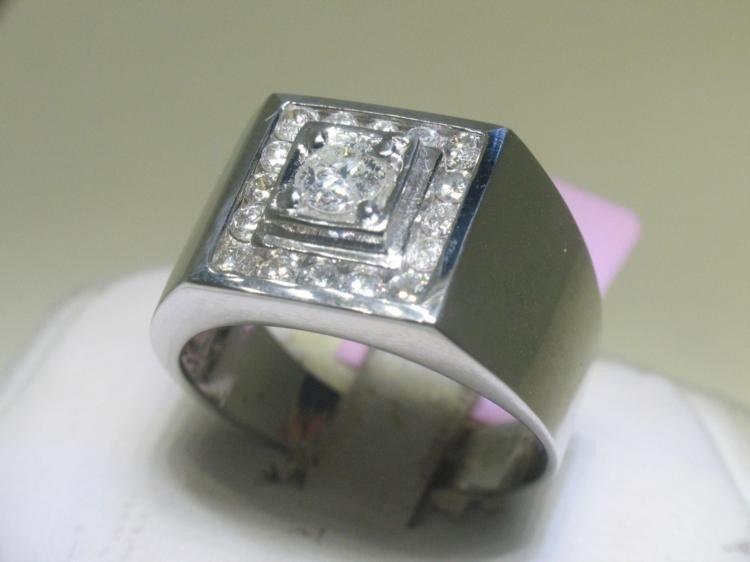 All Diamonds .39 CT Men's 14K White Gold Ring Size 11