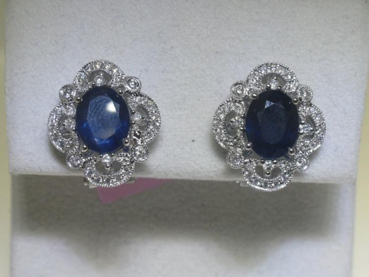 14K White Gold Earrings Blue Sapphire and Diamonds