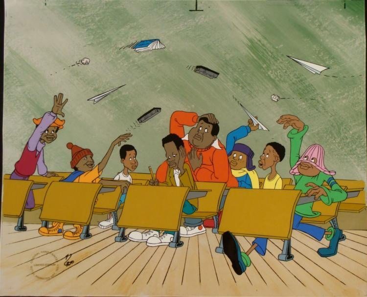 Fat Albert in Class Hand Painted Ltd Ed Animation Cel