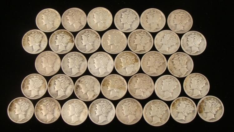 34 Mixed Date Mercury Silver Dime Coins